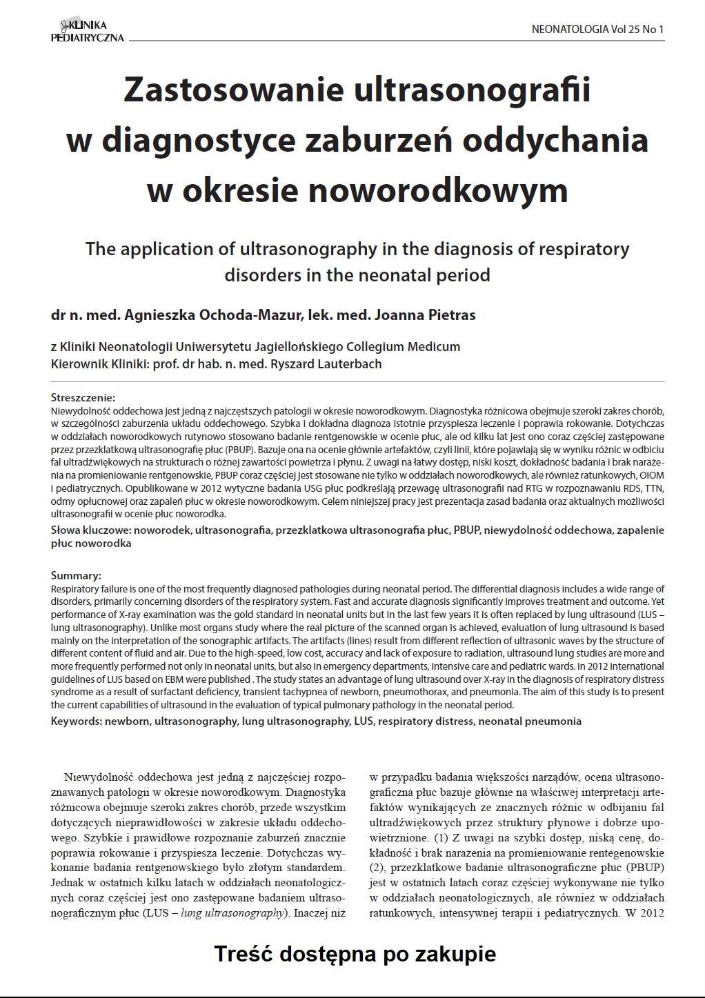 KP 1/2017 Zastosowanie ultrasonografii w diagnostyce zaburzeń oddychania w okresie noworodkowym