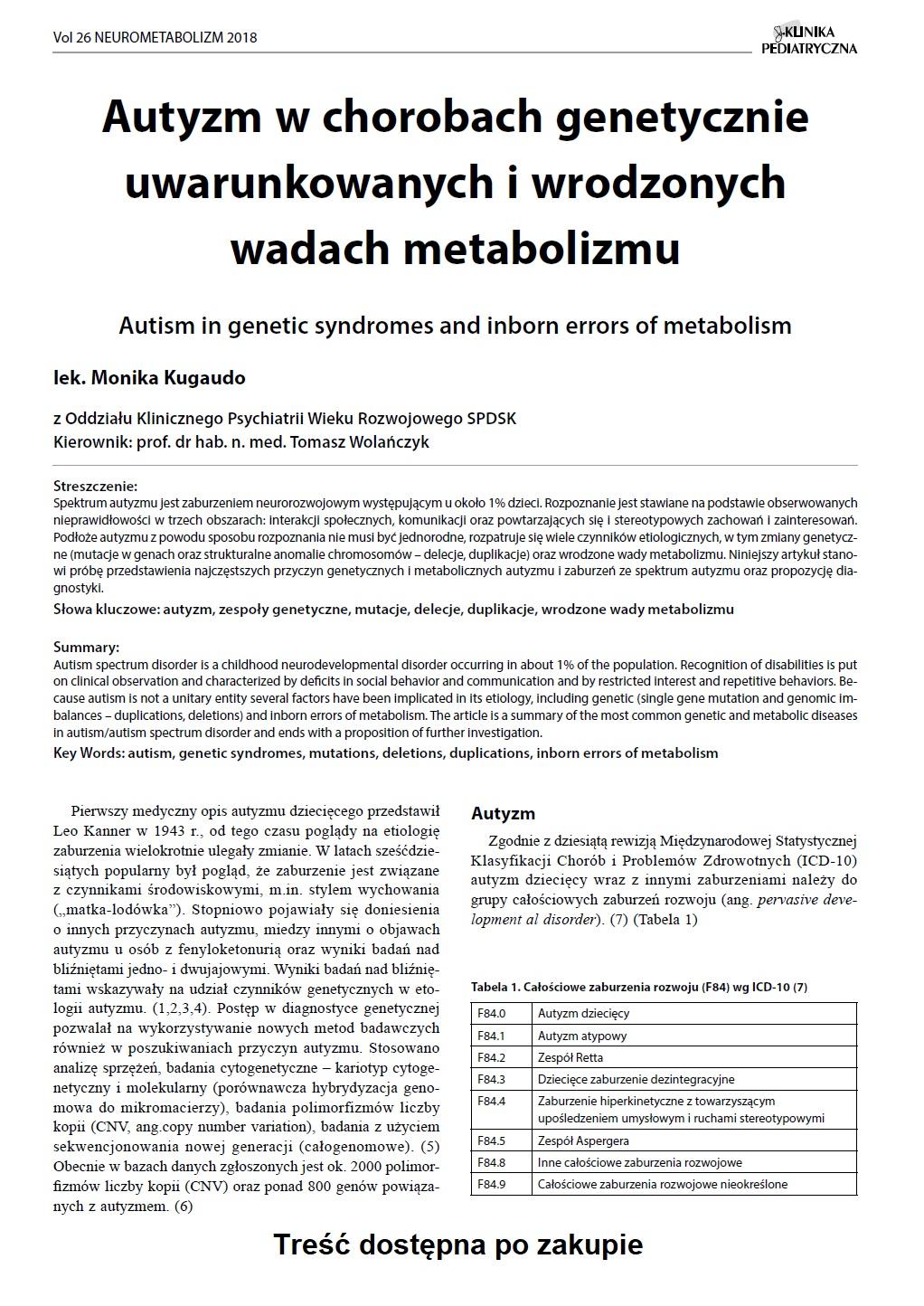 KP Neurometabolizm/2018 Autyzm w chorobach genetycznie uwarunkowanych i wrodzonych wadach metabolizmu