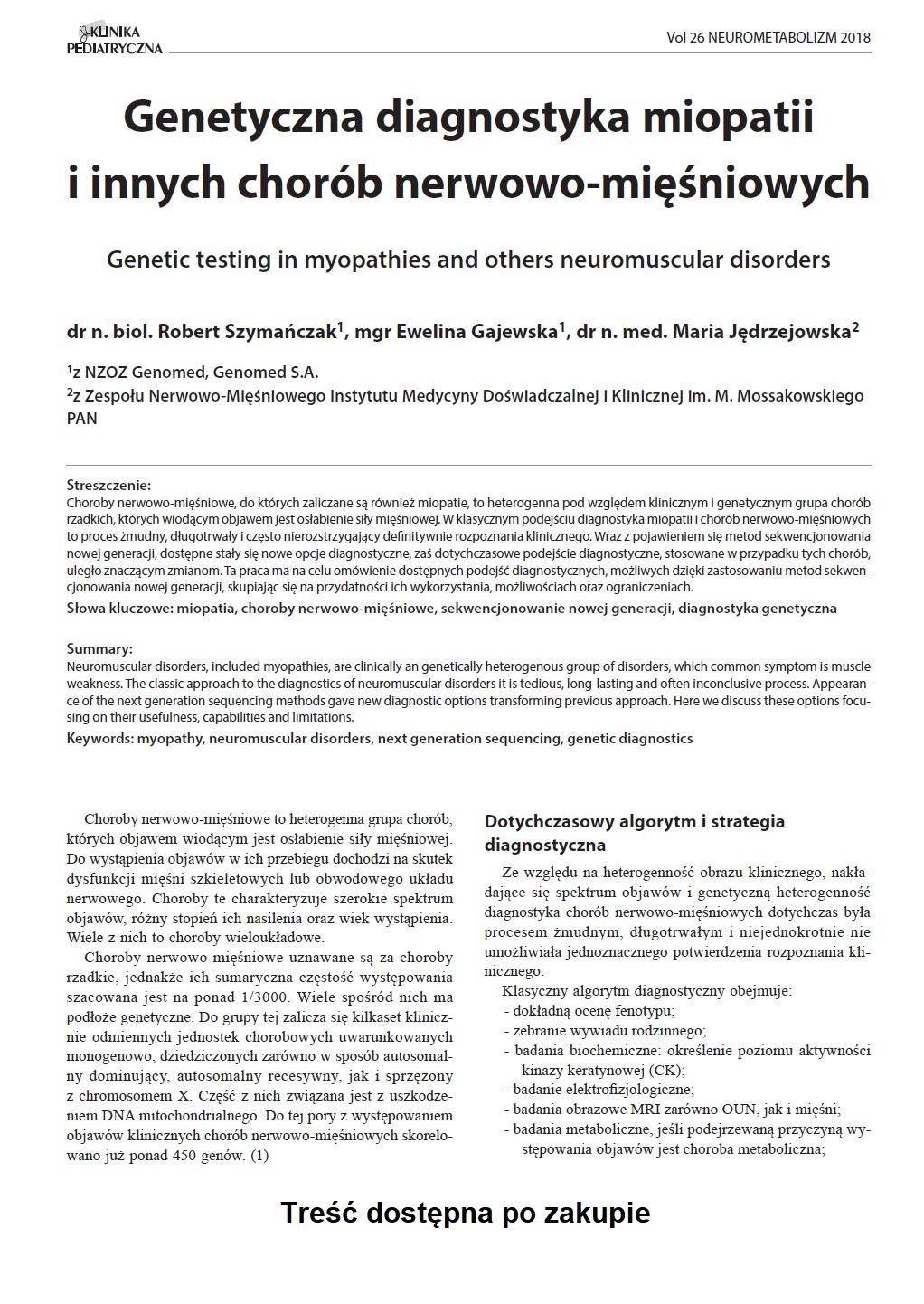 KP Neurometabolizm/2018 Genetyczna diagnostyka miopatii i innych chorób nerwowo-mięśniowych