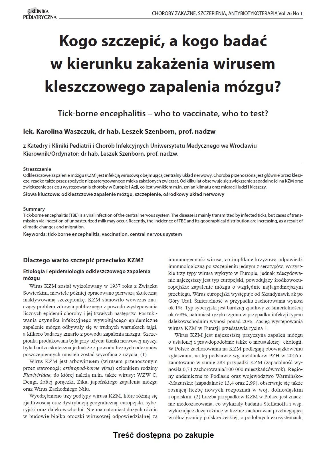 KP 1/2018 Kogo szczepić, a kogo badać w kierunku zakażenia wirusem kleszczowego zapalenia mózgu?