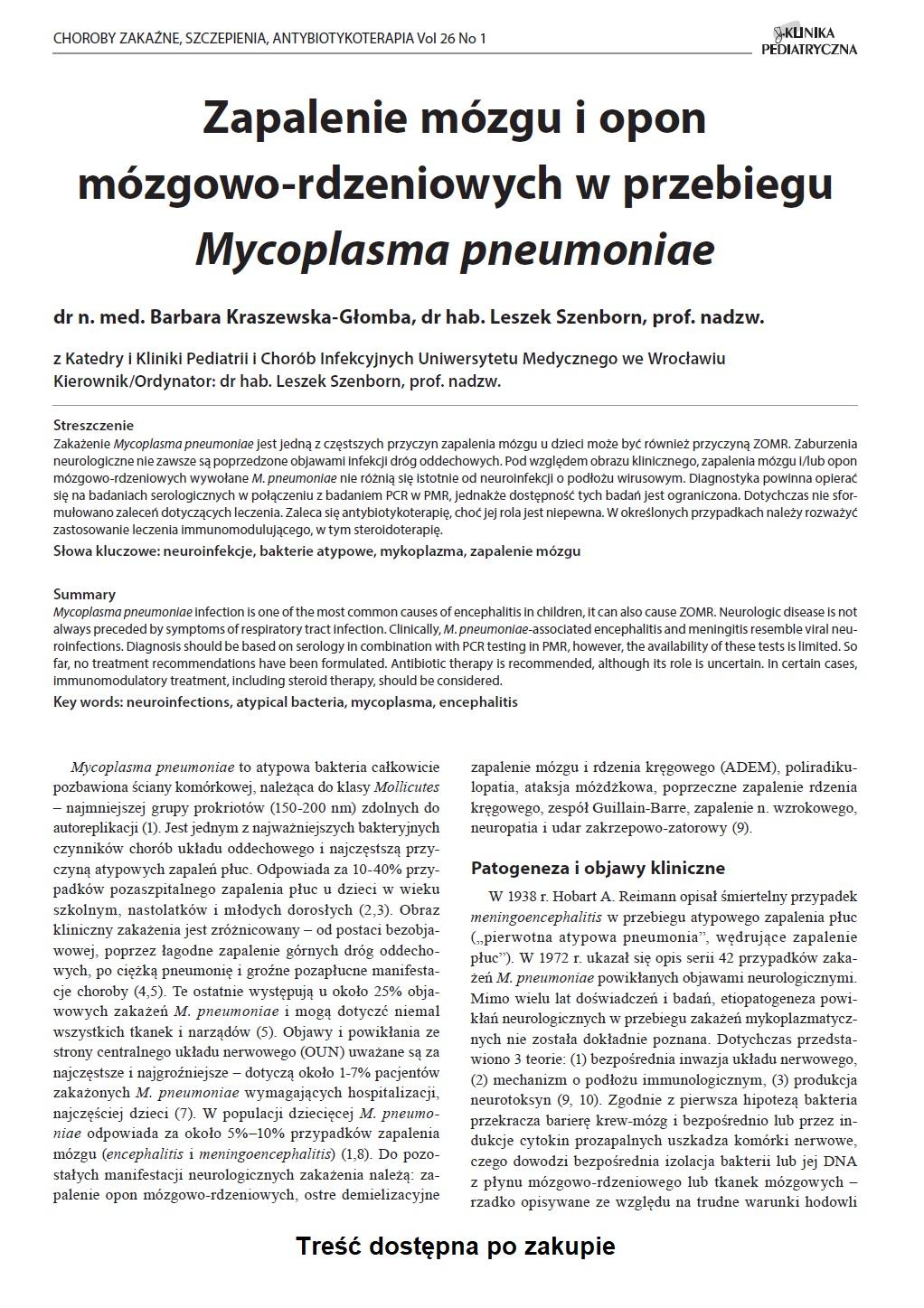 KP 1/2018 Zapalenie mózgu i opon mózgowo-rdzeniowych w przebiegu Mycoplasma pneumoniae