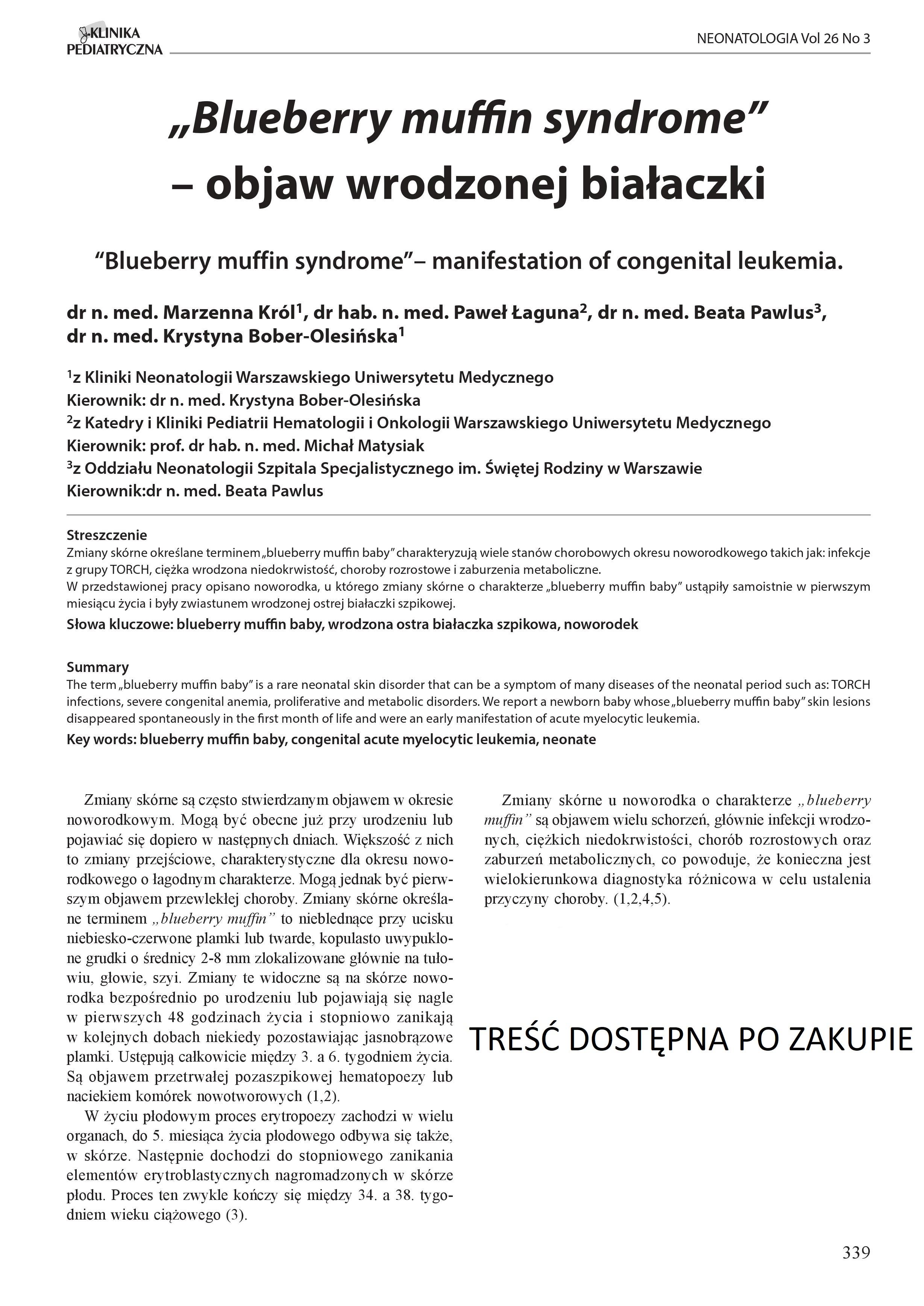 """KP 3/2018 """"Blueberry muffin syndrome"""" - objaw wrodzonej białaczki"""