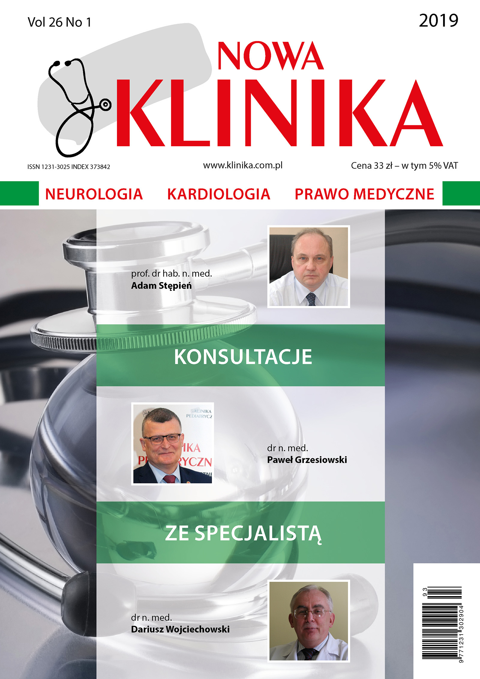 Klinika Nowa 1/2019 - Neurologia, Kardiologia, Prawo Medyczne