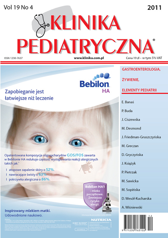 KP 2011/04 - Gastroenterologia, Żywienie, Elementy Pediatrii