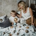 BAMBOO ROUND SWADDLE - BY WHATANNAWEARS – FLY ME TO THE MOON SKY