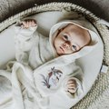 SZLAFROK BAMBOO SOFT - SMALL - BY WHATANNAWEARS - CREAM - FLY ME TO THE MOON SKY