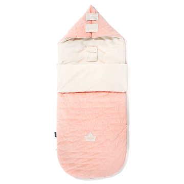 VELVET COLLECTION - STROLLER BAG PREMIUM: ŚPIWOREK - POWDER PINK BRIGHT & RAFAELLO