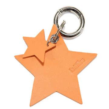 BRELOK LOCO LEATHER - STAR - PUMPKIN