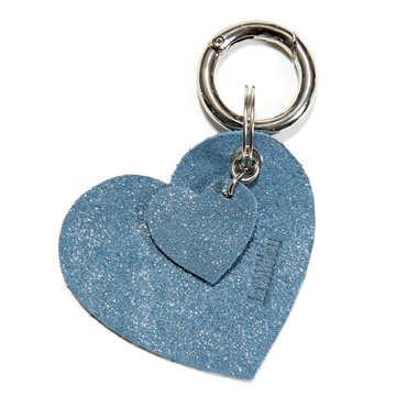 BRELOK LOCO LEATHER - HEART - STARDUST