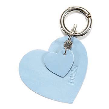 BRELOK LOCO LEATHER - HEART - BLUE PEARL
