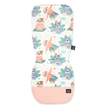 ORGANIC JERSEY COLLECTION - STROLLER PAD - YOGA CANDY SLOTH - VELVET POWDER PINK