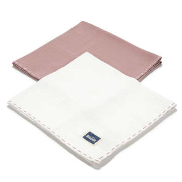BISCUIT COLLECTION - 2 PACK PIELUSZKA 100% COTTON MUSLIN - FRENCH LAVENDER & OFF WHITE