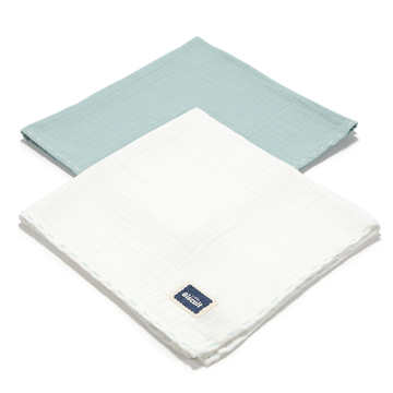 BISCUIT COLLECTION - 2 PACK PIELUSZKA 100% COTTON MUSLIN - MINT & OFF WHITE