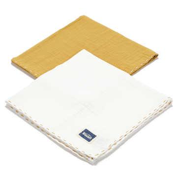 BISCUIT COLLECTION - 2 PACK PIELUSZKA 100% COTTON MUSLIN - HONEY & OFF WHITE