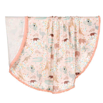 BAMBOO ROUND SWADDLE - KING SIZE - DUNDEE & FRIENDS PINK