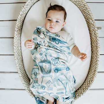 BAMBOO ROUND SWADDLE - KING SIZE - ROUTE 66 COLOUR