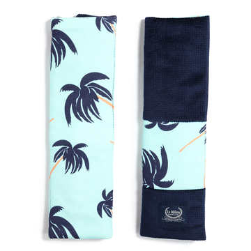 ORGANIC JERSEY COLLECTION - SEATBELT COVER - AQUA PALMS - VELVET ROYAL NAVY
