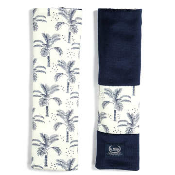 ORGANIC JERSEY COLLECTION - SEATBELT COVER - CREAM JUNGLE - VELVET ROYAL NAVY