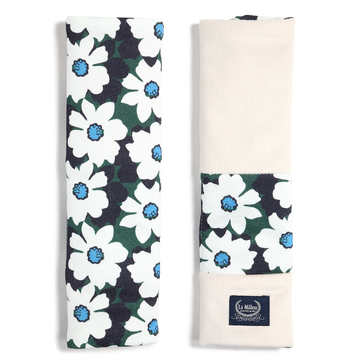 ORGANIC JERSEY COLLECTION - SEATBELT COVER - DAISY - VELVET RAFAELLO
