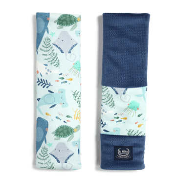 ORGANIC JERSEY COLLECTION - SEATBELT COVER - DEEP BLUE - VELVET HARVARD BLUE