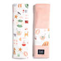 ORGANIC JERSEY COLLECTION - SEATBELT COVER - FRENCH RIVIERA GIRL - VELVET POWDER PINK