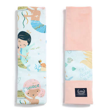ORGANIC JERSEY COLLECTION - SEATBELT COVER - MERMAID PLAYGROUND - VELVET POWDER PINK