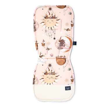 ORGANIC JERSEY COLLECTION - STROLLER PAD - FLY ME TO THE MOON NUDE - VELVET RAFAELLO