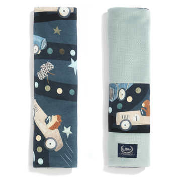 ORGANIC JERSEY COLLECTION - SEATBELT COVER - ON THE ROAD - VELVET SMOKE MINT