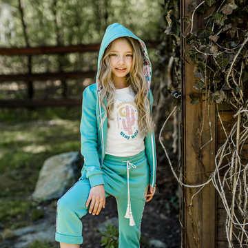 BLUZA DZIEWCZĘCA MAJA - 104 - & FEMI STORIES - STAY WILD MOON CHILD - DUSTY MINT
