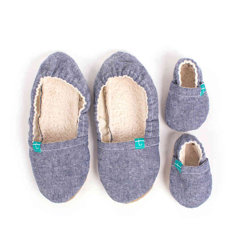 TITOT MOM AND BABY SLIPPERS Navy Chambray SET (MOM SIZE 4 2ec45c8ef043