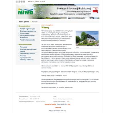 Buletyn Informacji Publicznej Centrum Rehabilitacji Rolników Kasy Rolniczego Ubezpieczenia Społecznego NIWA