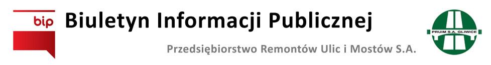 Baner Biuletyn Informacji Publicznej - PRUIM Gliwice S.A.