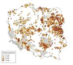 Stwierdzenia błotniaka łąkowego w latach 2000-2012. Ryc. L. Kuczyński