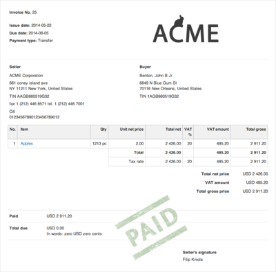 invoice contains