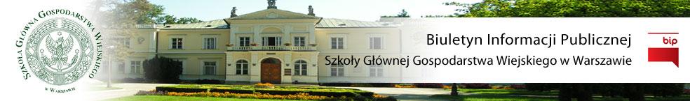 Baner BIP SGGW - Biuletyn  Informacji Publicznej Szkoły Głównej Gospodarstwa Wiejskiego w Warszawie
