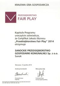 certyfikat, fair play