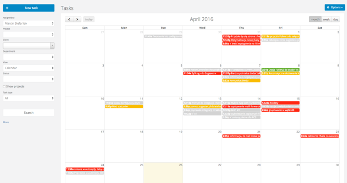 Calendar and task board