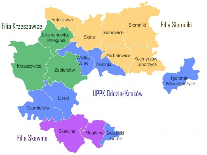 MAPA POWIATU KRAKOWSKIEGO z zaznaczonymi gminami
