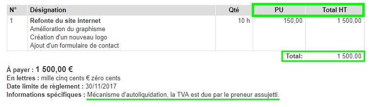 Facturation Facture Autoliquidation Prix HT TVA