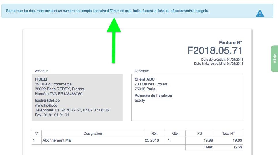 Compte Bancaire Numéro Similitude Vérification Sécurité Facturation VosFactures