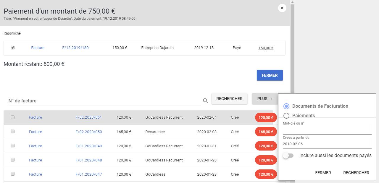 Rapprochement bancaire paiement facturation logiciel VosFactures