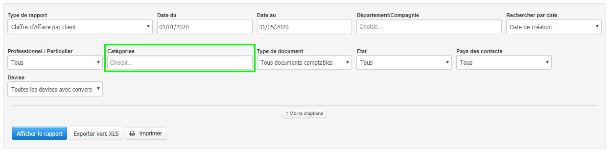 Facturation Rapport Suivi Classification par Catégorie VosFactures