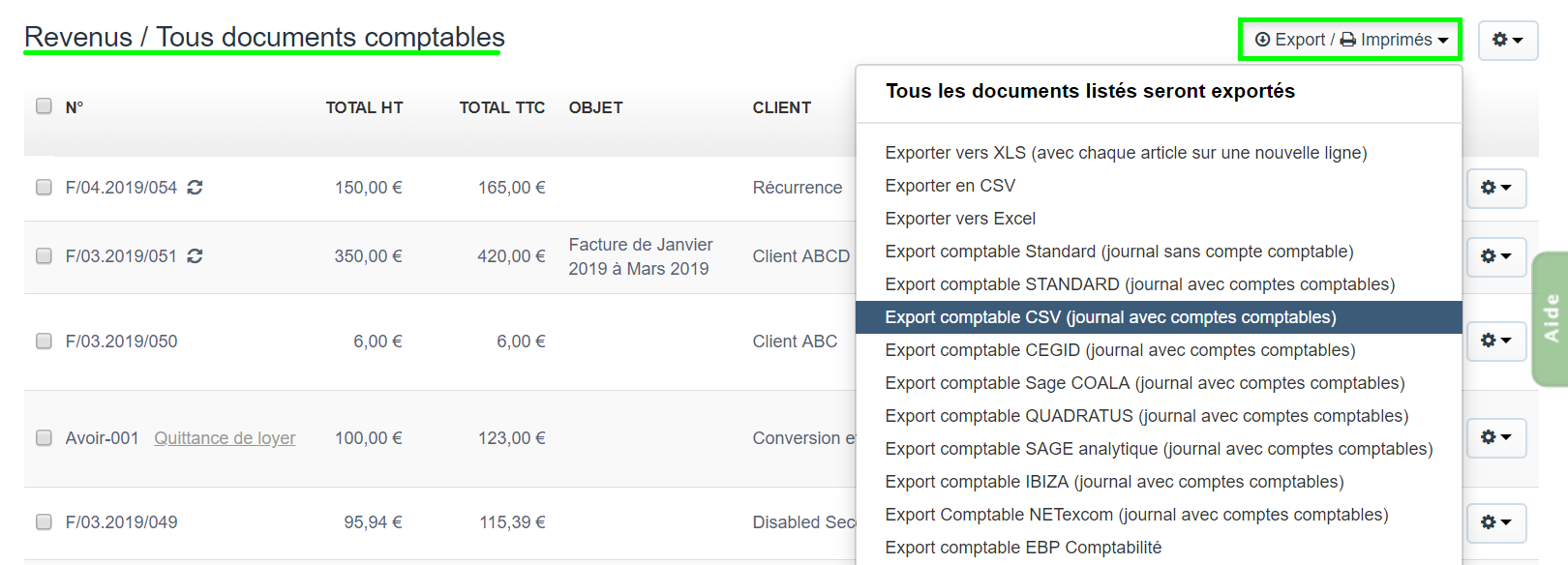 Facturation Document Comptable Export CSV Exercice