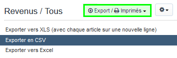 Facturation Facture Document Comptable Export CSV Exercice