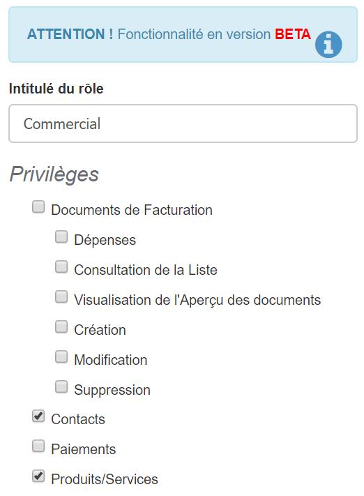 Facturation Utilisateur Accès Connexion Rôle Commercial Comptable