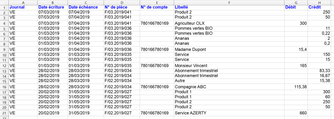 Facturation Export Comptable Journal Vente Achat TVA EBP Comptabilité