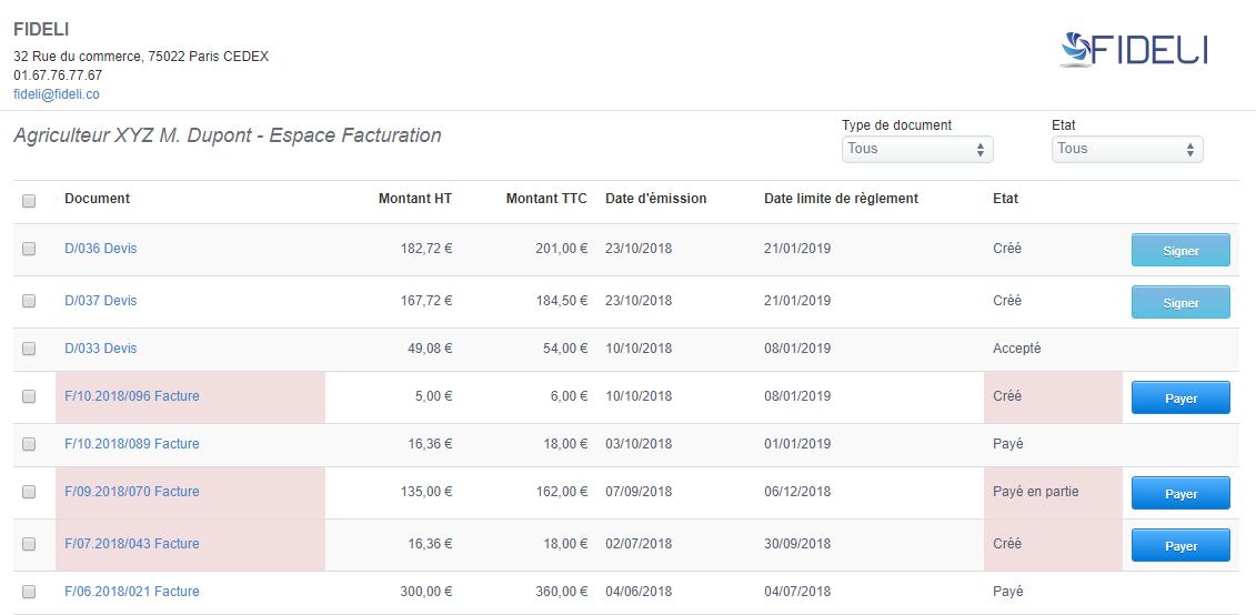 Facturation Facture Devis Commande Signature en Ligne Accès Client
