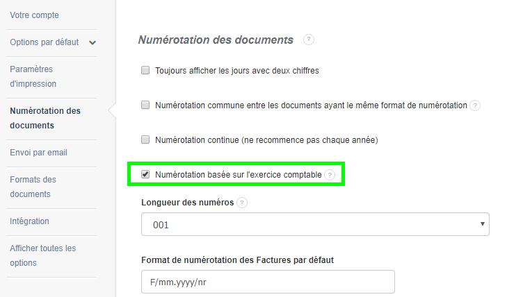 Facturation Facture Numérotation Exercice Comptable Numéro Document