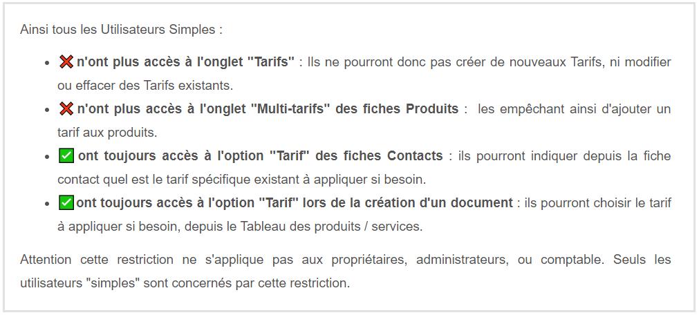 Sécurité Accès Utilisateurs Restrictions Tarifs VosFactures