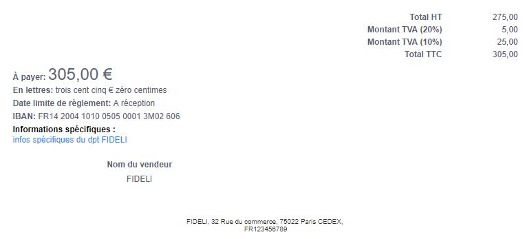 Facturation Facture Devis Document Information Spécifique Mention Légale